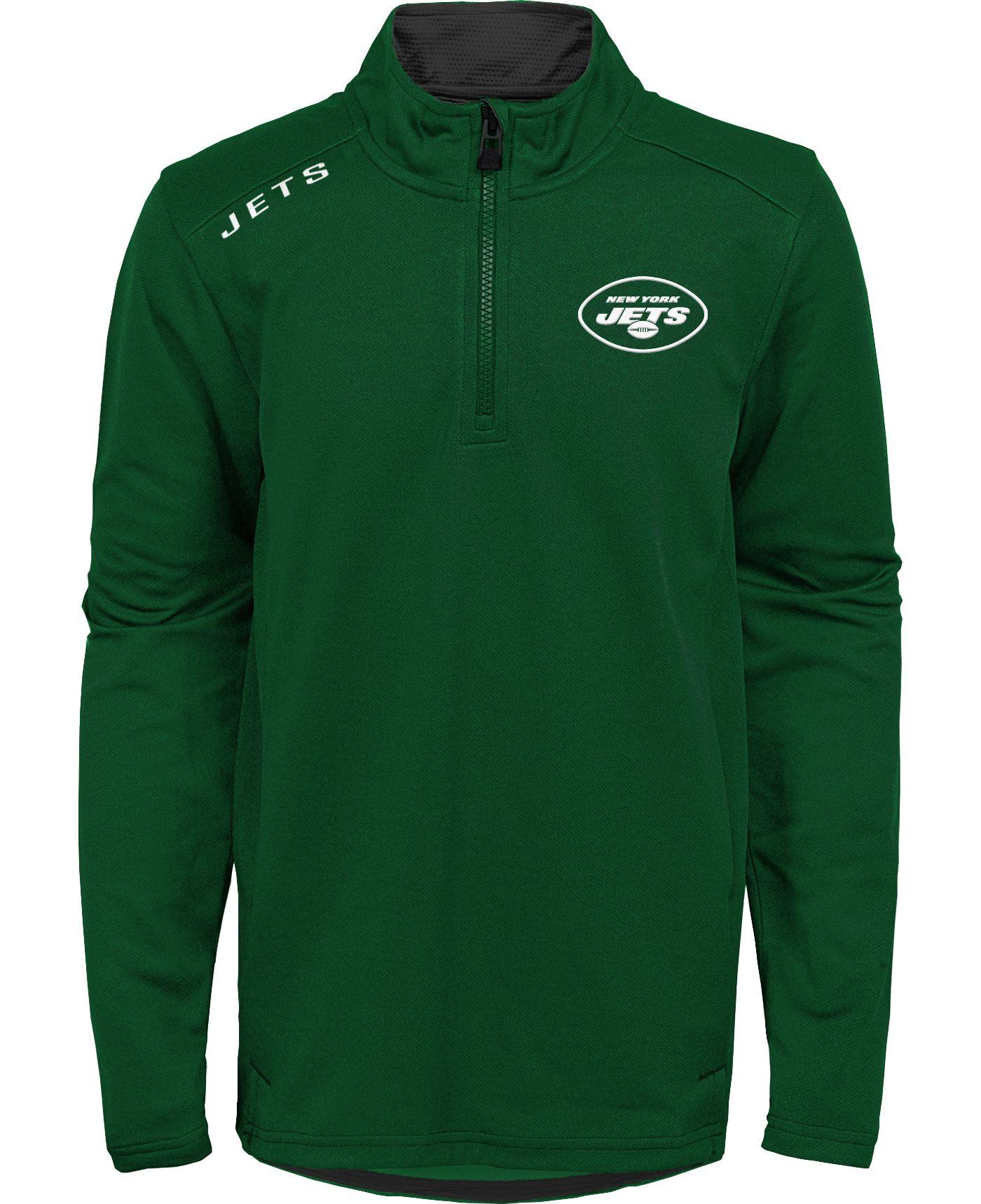 NFL Team Apparel Youth New York Jets Unlock Green Quarter-Zip Pullover