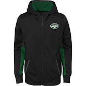 NFL Team Apparel Youth New York Jets Performance Black Full-Zip Hoodie