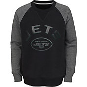 NFL Team Apparel Youth New York Jets Raglan Fleece Black Crew