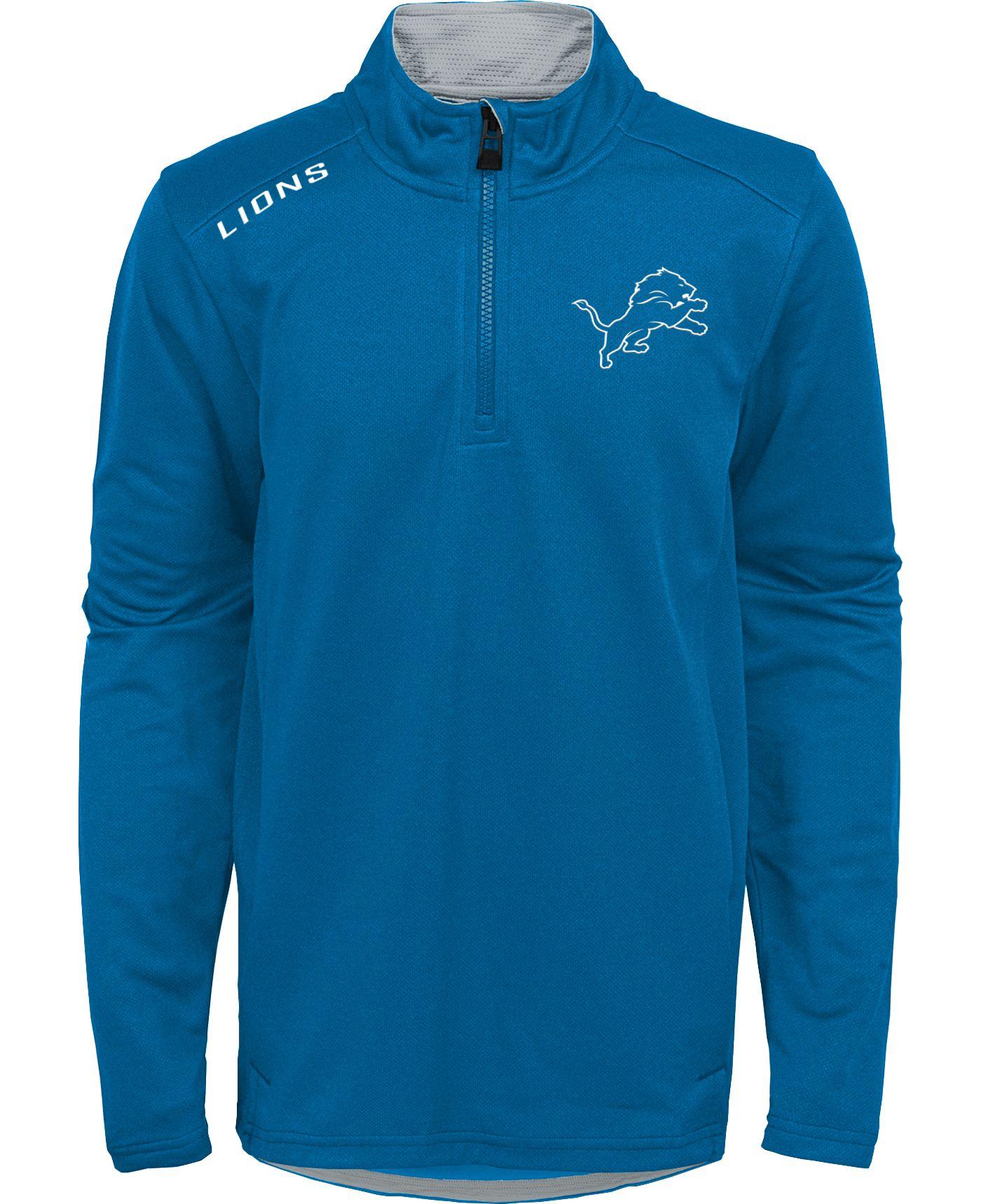 NFL Team Apparel Youth Detroit Lions Unlock Blue Quarter-Zip Pullover