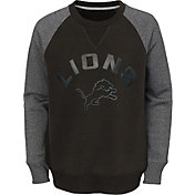 NFL Team Apparel Youth Detroit Lions Raglan Fleece Navy Crew