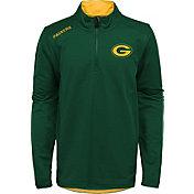 NFL Team Apparel Youth Green Bay Packers Unlock Green Quarter-Zip Pullover