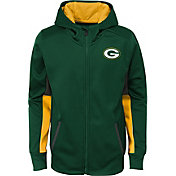 NFL Team Apparel Youth Green Bay Packers Performance Green Full-Zip Hoodie