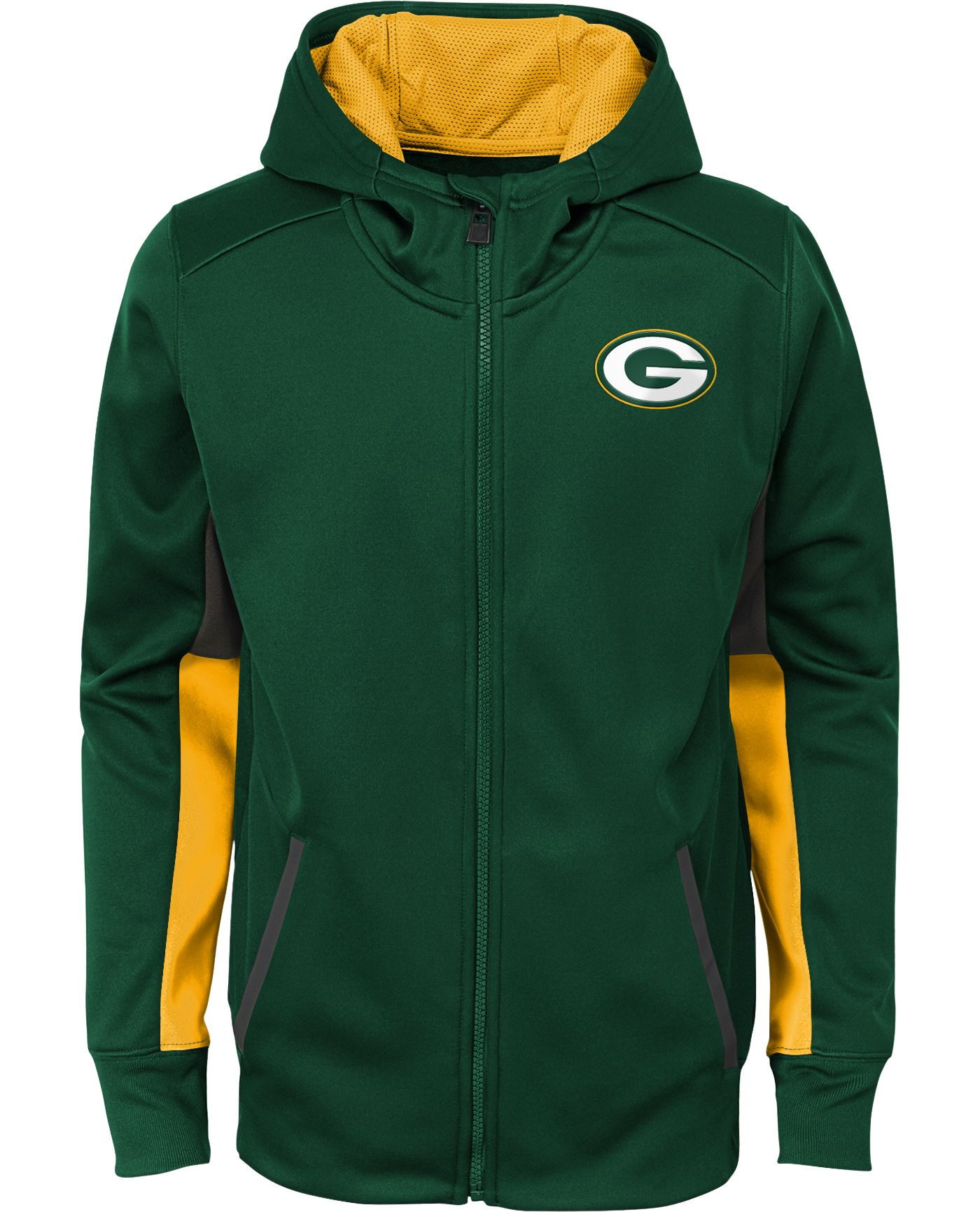 NFL Team Apparel Youth Green Bay Packers Performance Green Full-Zip Hoodie