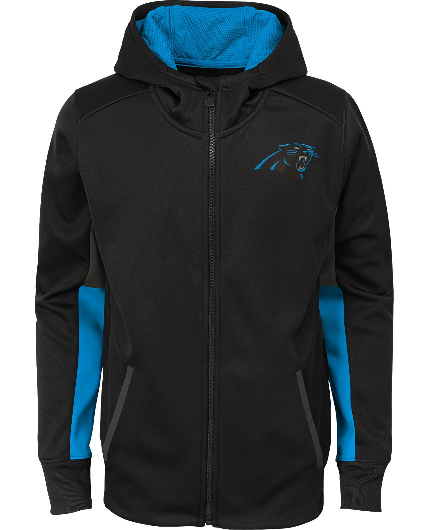 NFL Team Apparel Youth Carolina Panthers Performance Black Full-Zip Hoodie