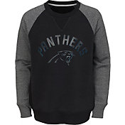 NFL Team Apparel Youth Carolina Panthers Raglan Fleece Black Crew