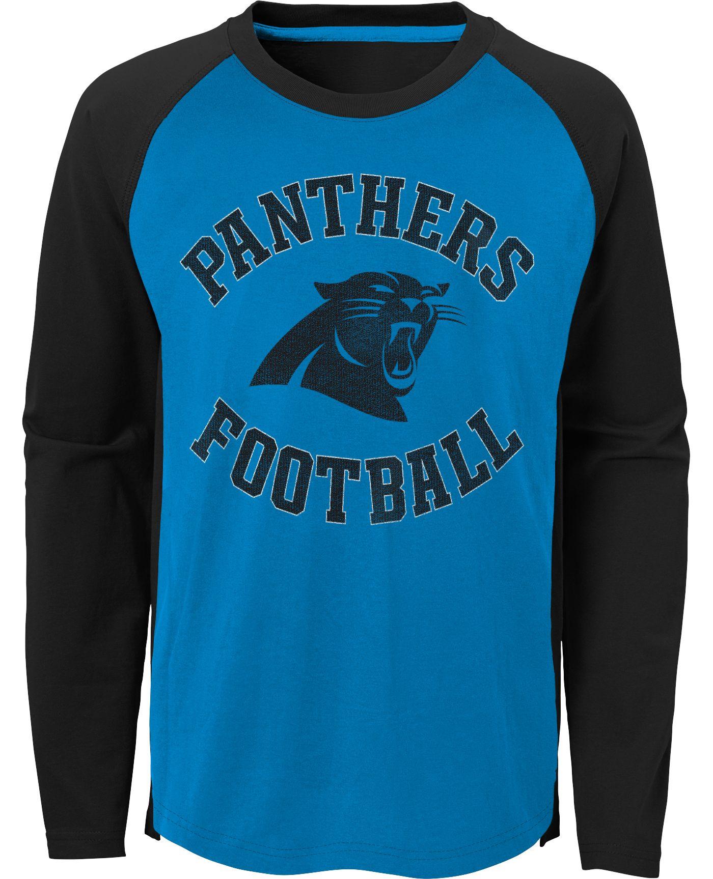 NFL Team Apparel Youth Carolina Panthers Air Raid Long Sleeve Black Shirt