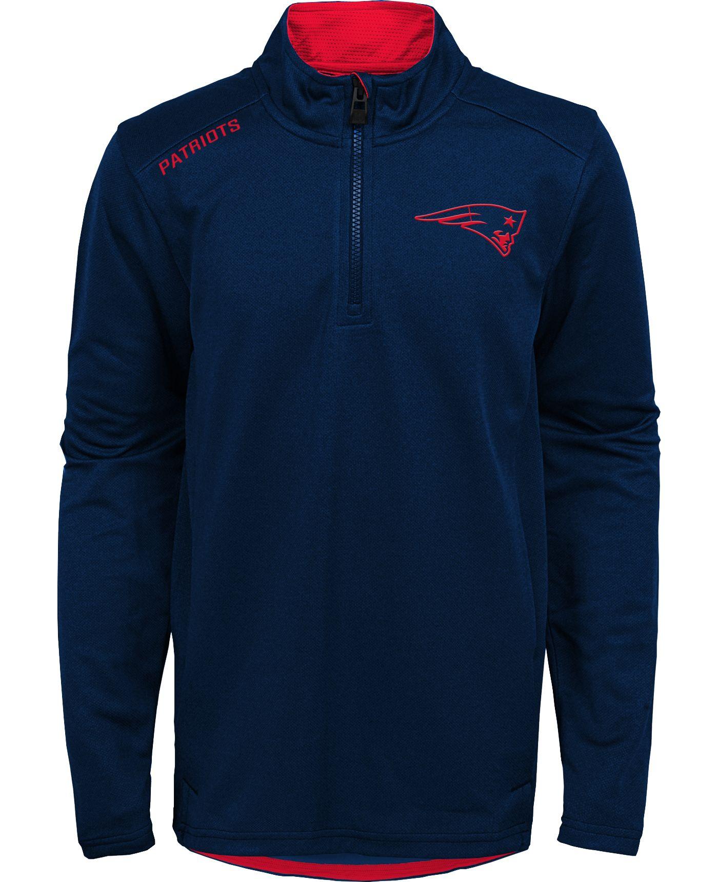 NFL Team Apparel Youth New England Patriots Unlock Navy Quarter-Zip Pullover