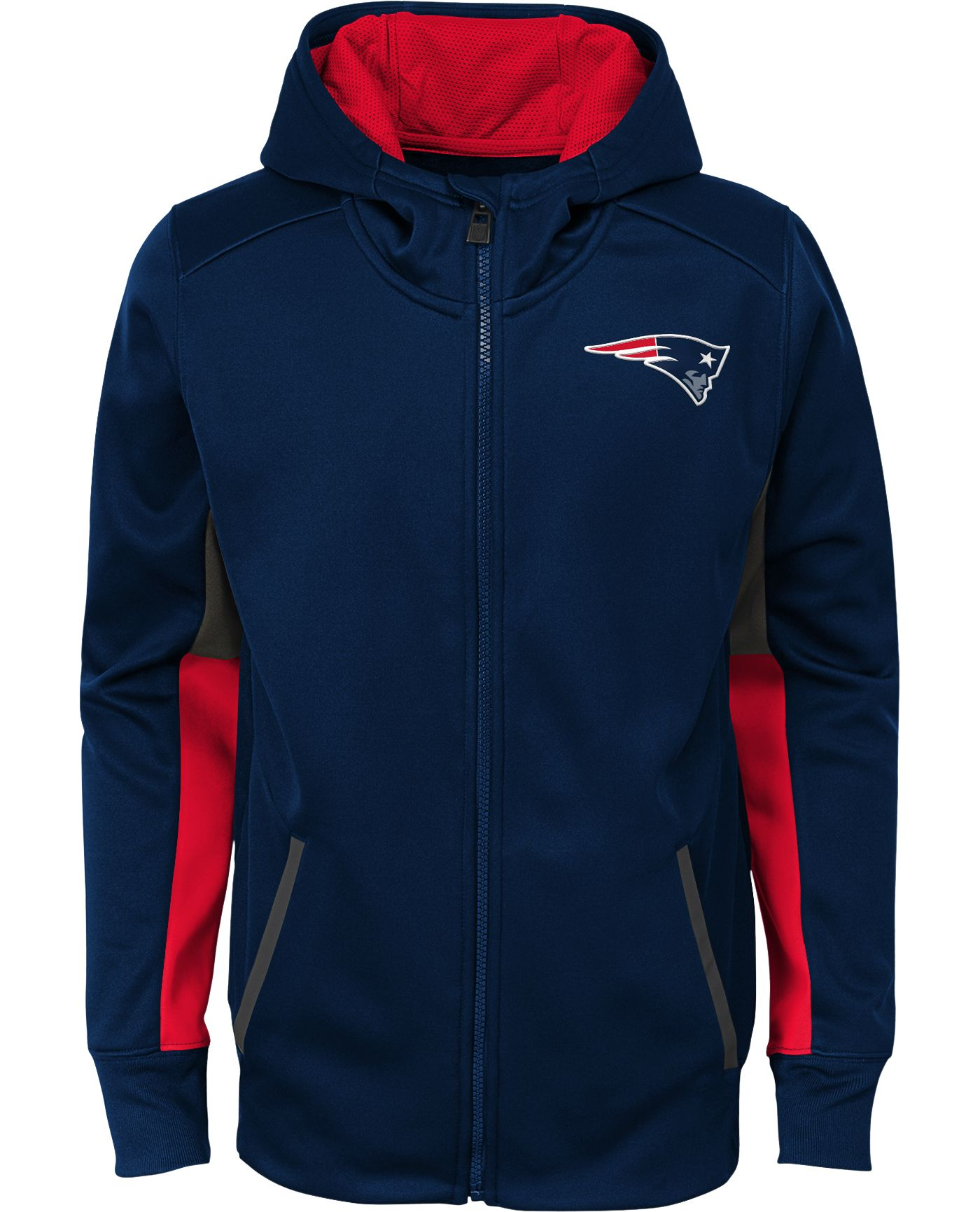 NFL Team Apparel Youth New England Patriots Performance Navy Full-Zip Hoodie