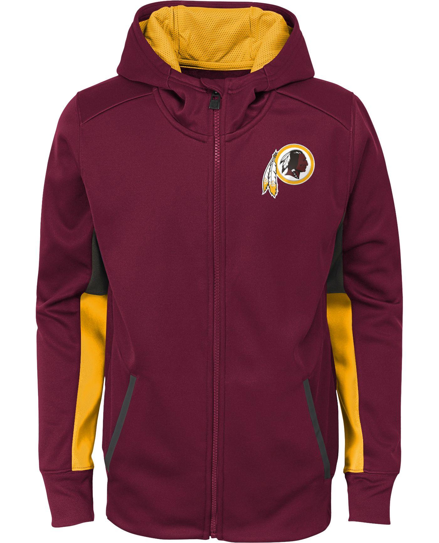 NFL Team Apparel Youth Washington Redskins Performance Red Full-Zip Hoodie