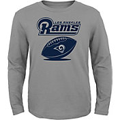 NFL Team Apparel Youth Los Angeles Rams Equip Snap Grey Long Sleeve Shirt