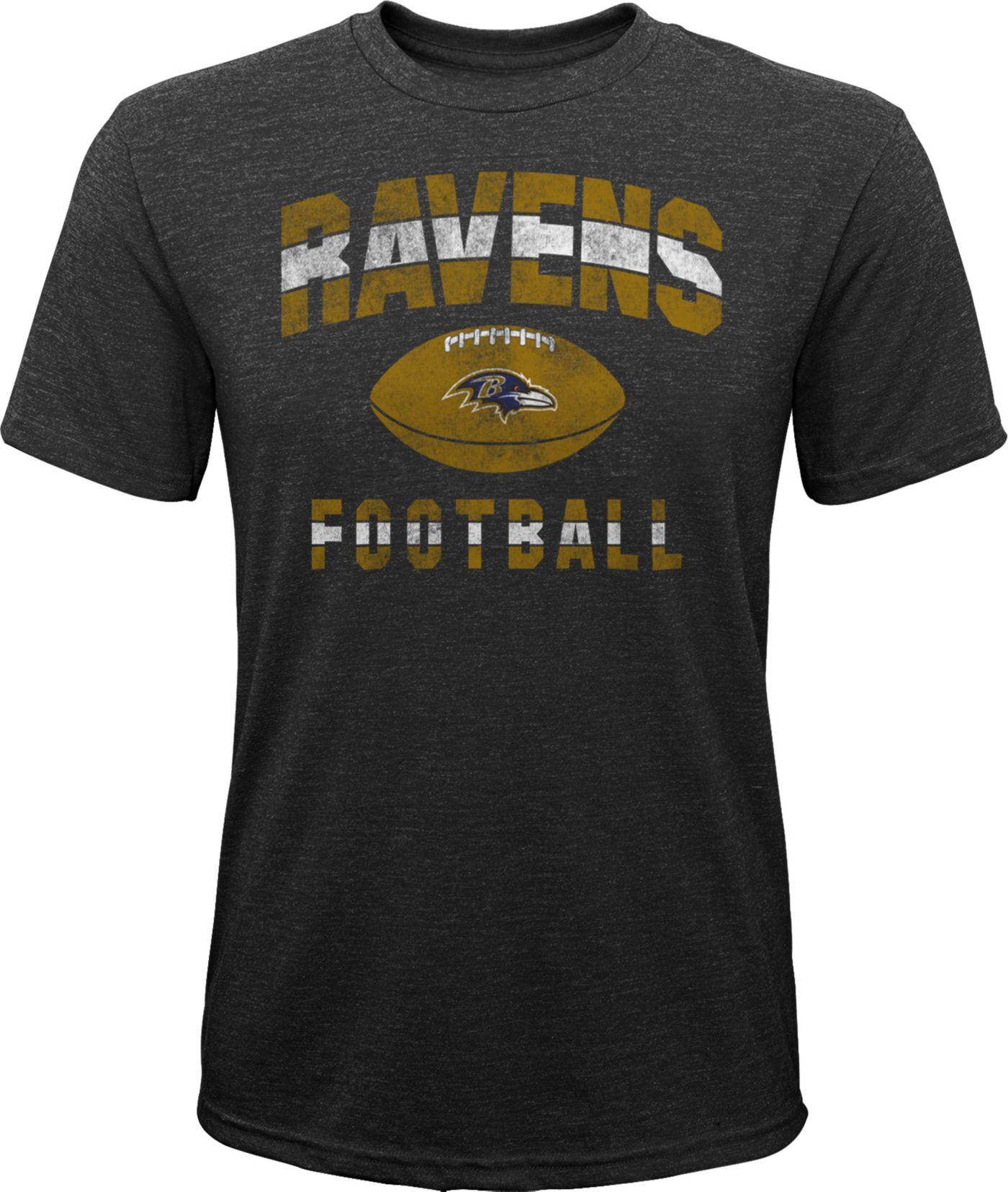 NFL Team Apparel Youth Baltimore Ravens Big Game Tri-Blend Black T-Shirt