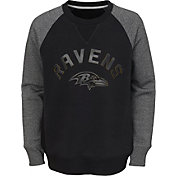 NFL Team Apparel Youth Baltimore Ravens Raglan Fleece Black Crew