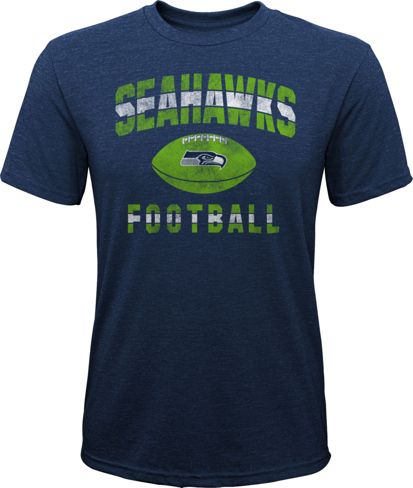 NFL Team Apparel Youth Seattle Seahawks Big Game Tri-Blend Navy T-Shirt