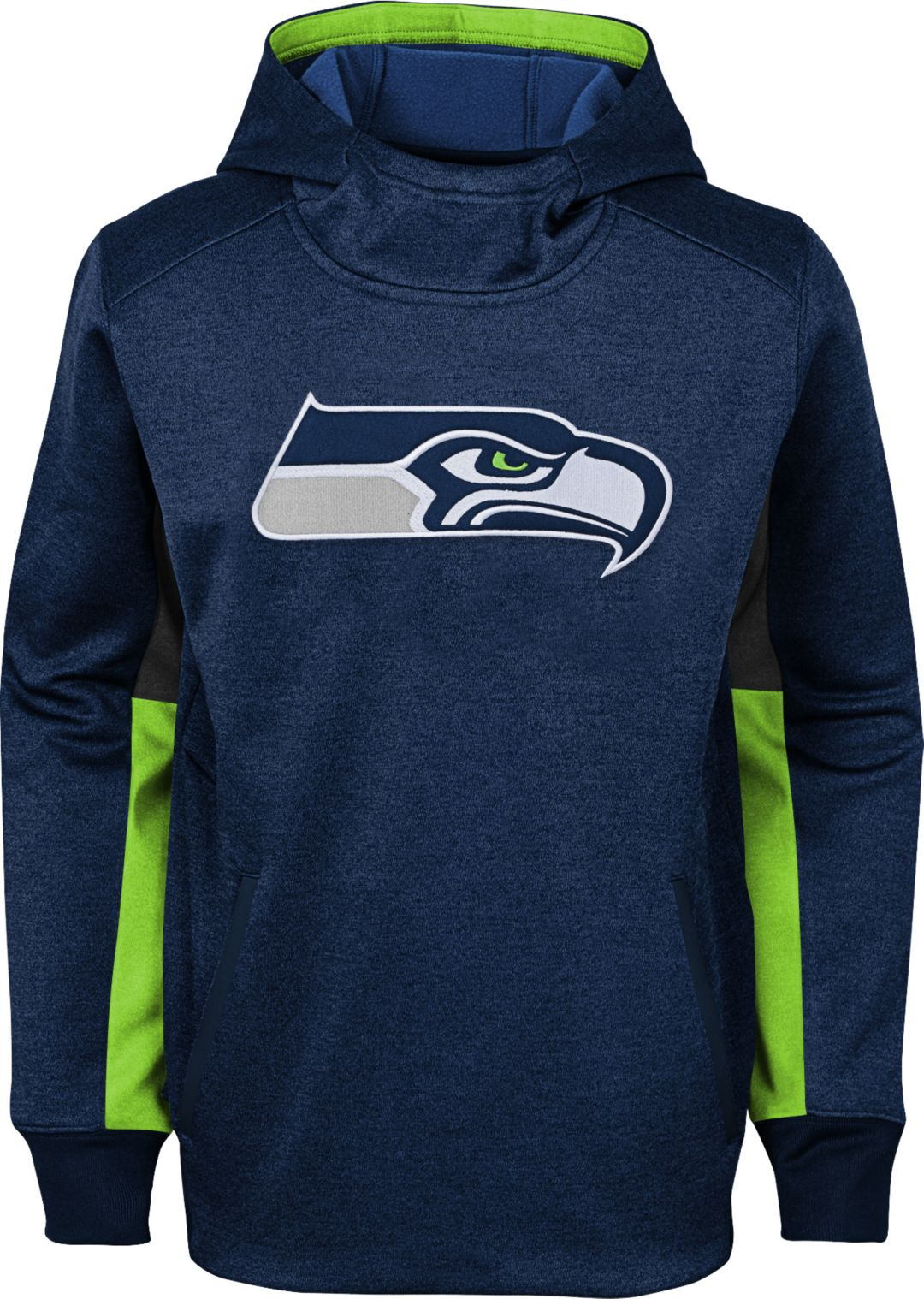 on sale 9aa6a cc927 NFL Team Apparel Youth Seattle Seahawks Status Performance Navy Hoodie