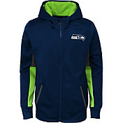 NFL Team Apparel Youth Seattle Seahawks Performance Navy Full-Zip Hoodie