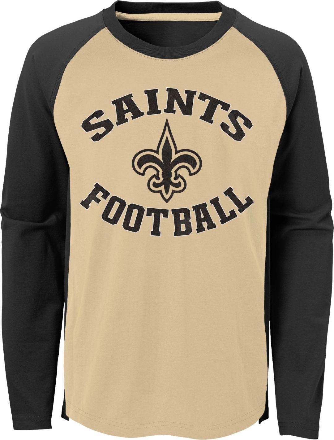 wholesale dealer d3a3a 2deea NFL Team Apparel Youth New Orleans Saints Air Raid Long Sleeve Black Shirt