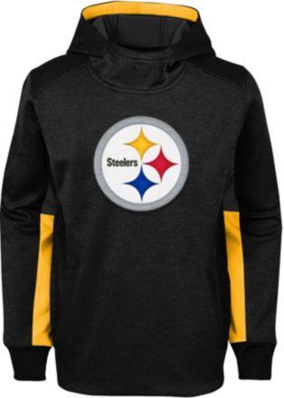 6cf508d94332c3 NFL Team Apparel Youth Pittsburgh Steelers Status Performance Black Hoodie