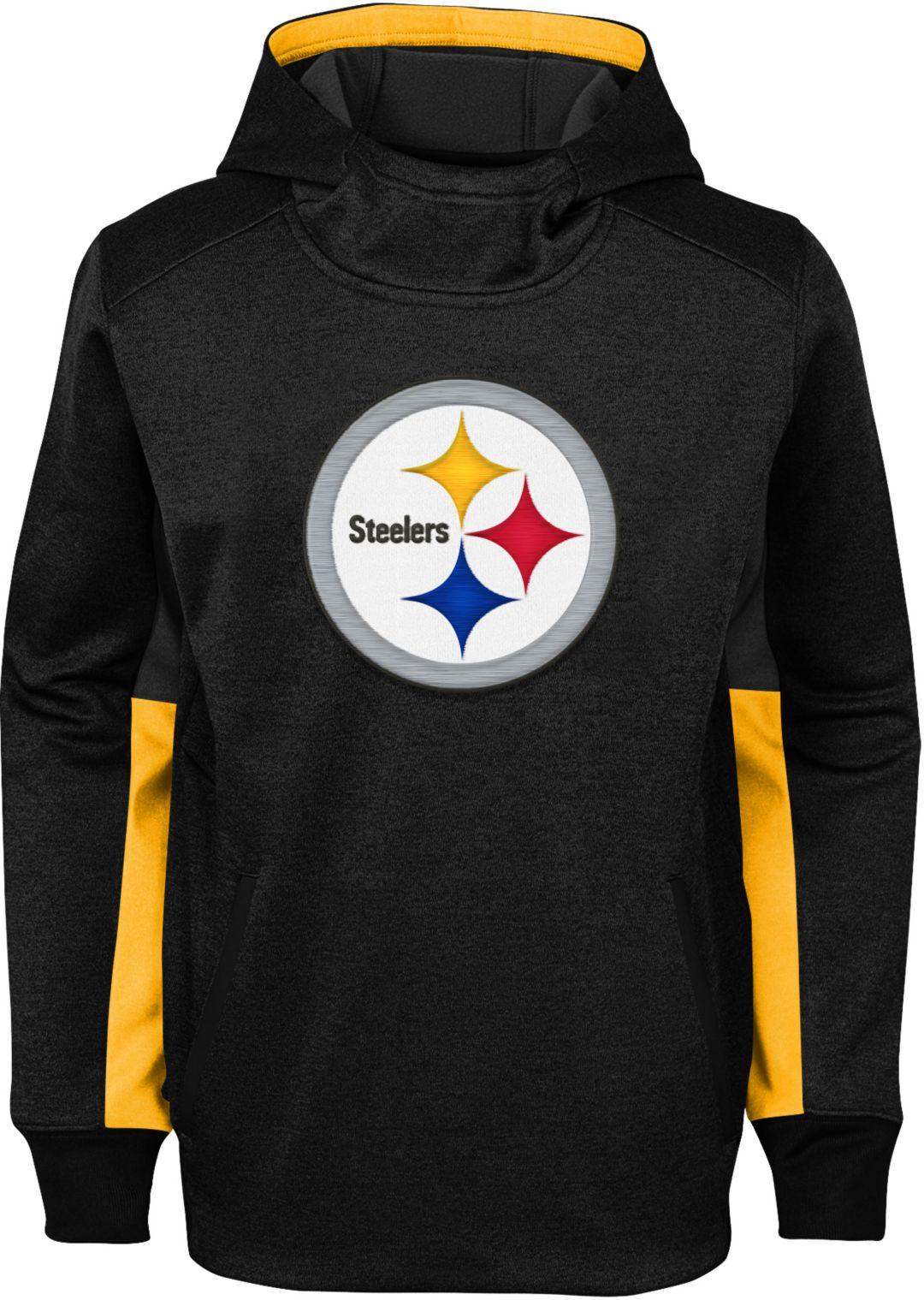 best service 30559 3c7ba NFL Team Apparel Youth Pittsburgh Steelers Status Performance Black Hoodie