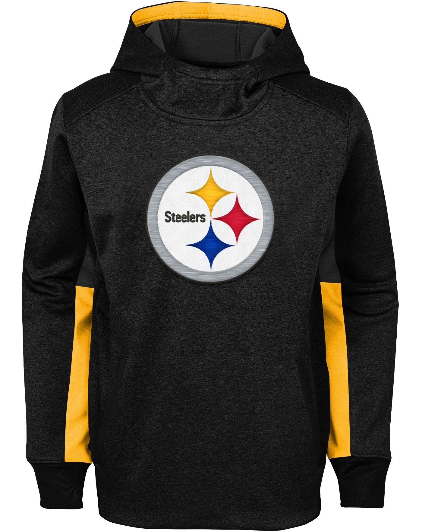 NFL Team Apparel Youth Pittsburgh Steelers Status Performance Black Hoodie