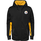 NFL Team Apparel Youth Pittsburgh Steelers Performance Black Full-Zip Hoodie