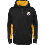 e60666db NFL Team Apparel Youth Pittsburgh Steelers Performance Black Full-Zip Hoodie