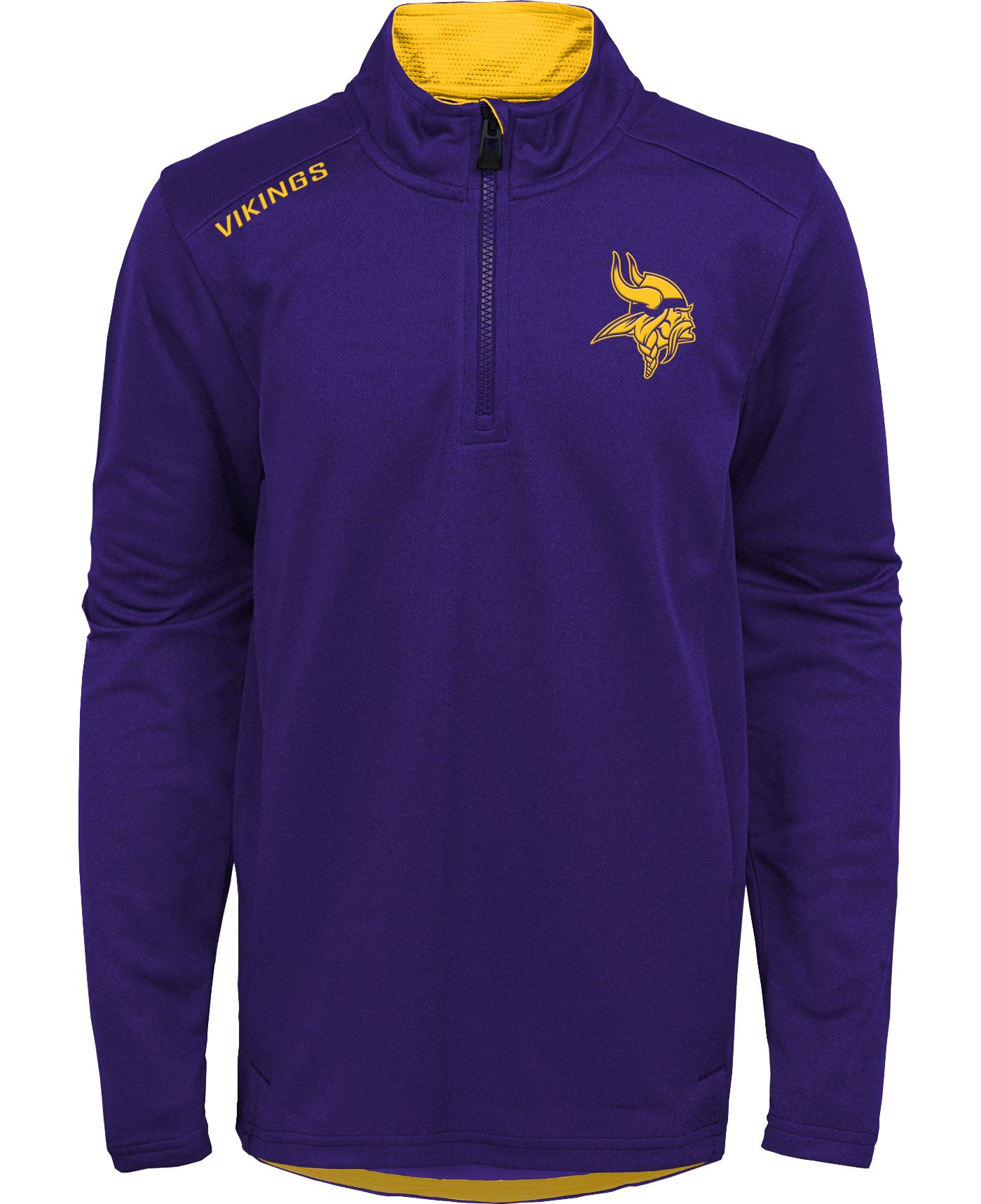NFL Team Apparel Youth Minnesota Vikings Unlock Purple Quarter-Zip Pullover
