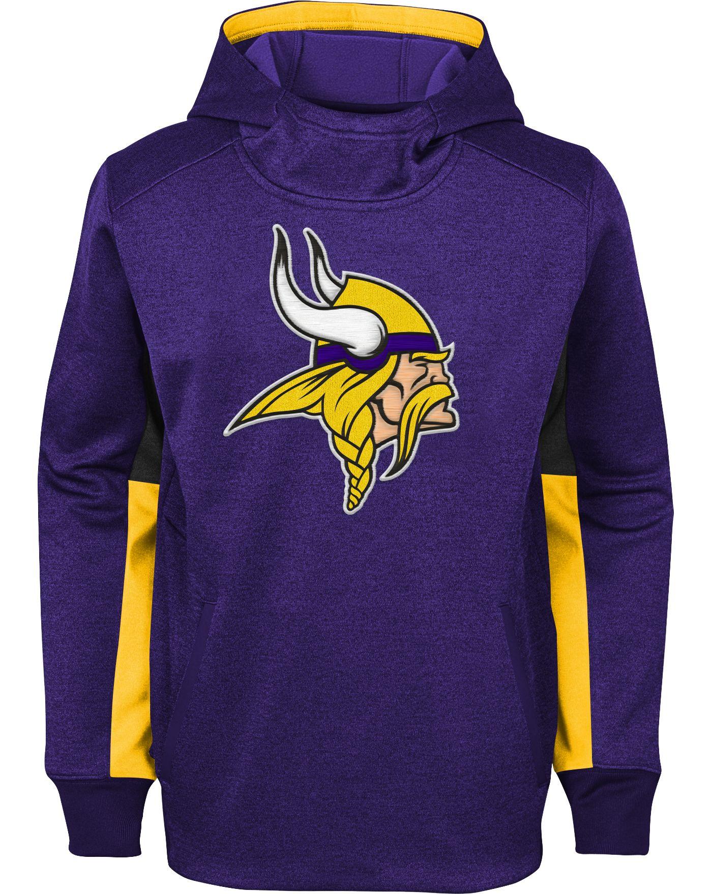 NFL Team Apparel Youth Minnesota Vikings Status Performance Purple Hoodie