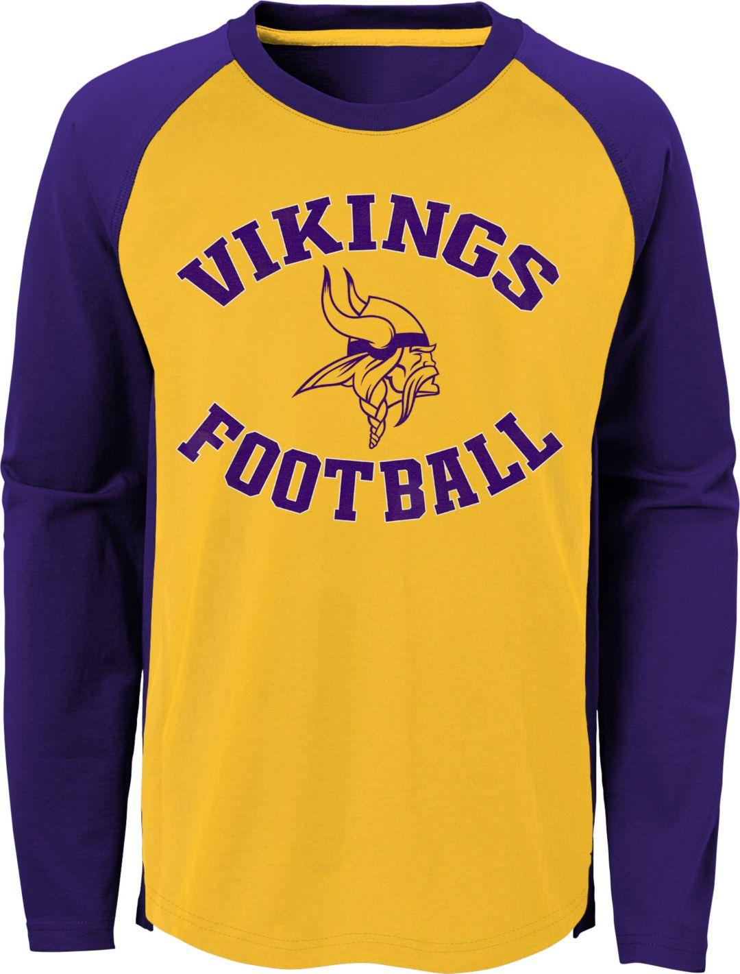 brand new e6cd8 3df62 NFL Team Apparel Youth Minnesota Vikings Air Raid Long Sleeve Purple Shirt