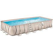 Summer Waves Elite Light Wicker 12 'x 24' Rectangular Metal Frame Pool Package