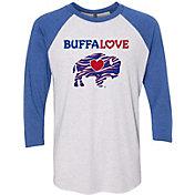 BuffaLove Men's Stripes Blue Raglan Three-Quarter Sleeve Shirt