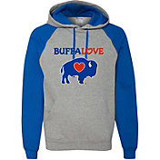 BuffaLove Men's Grey/Royal Raglan Pullover Hoodie