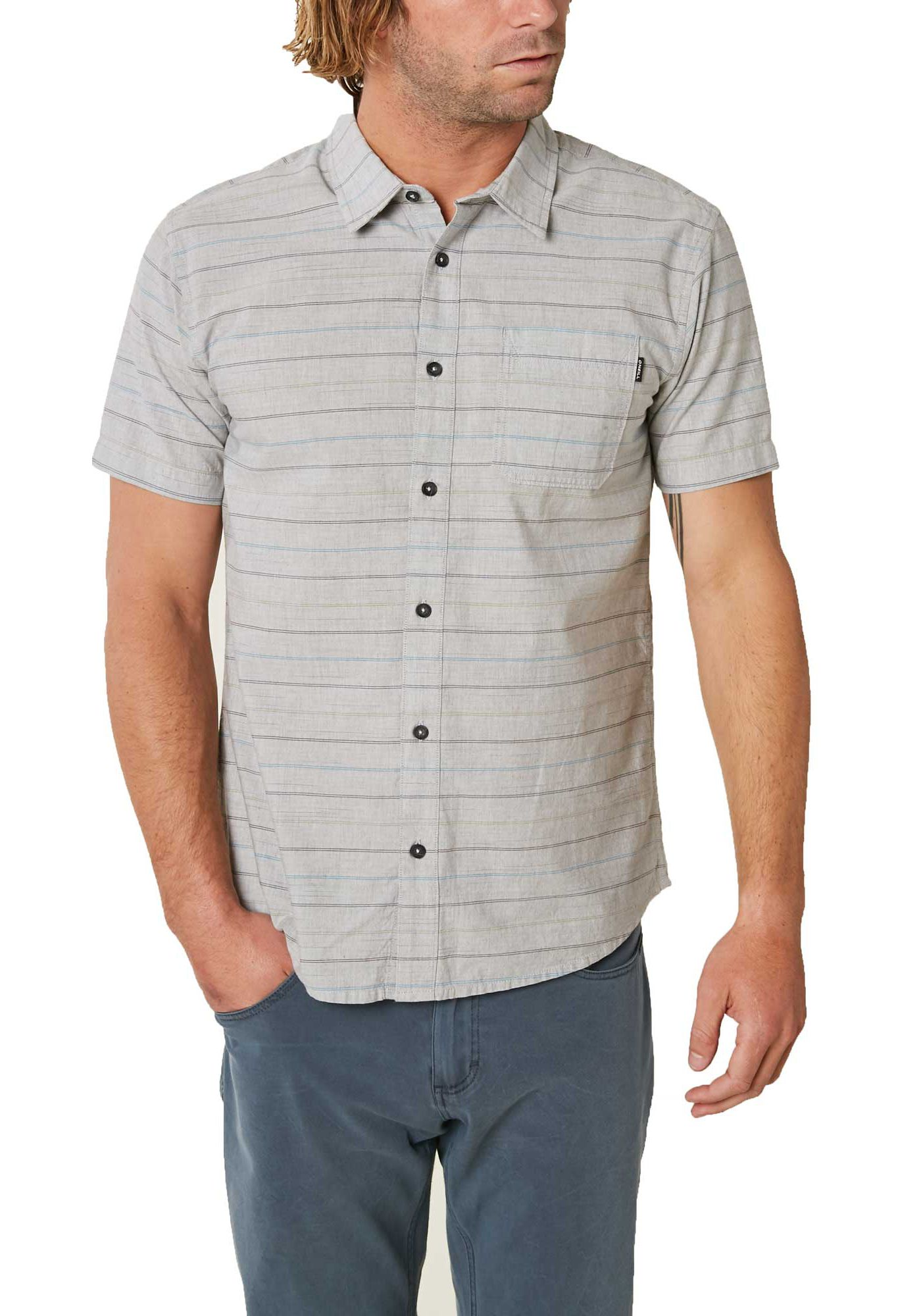 O'Neill Men's Brewster Stripe Woven Button Down Shirt