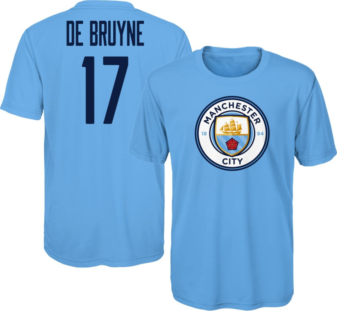 online store dc28f b3d93 Outerstuff Youth Manchester City Kevin De Bruyne #17 Blue Player Tee