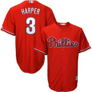 Majestic Youth Replica Philadelphia Phillies Bryce Harper #3 Cool Base Alternate Red Jersey