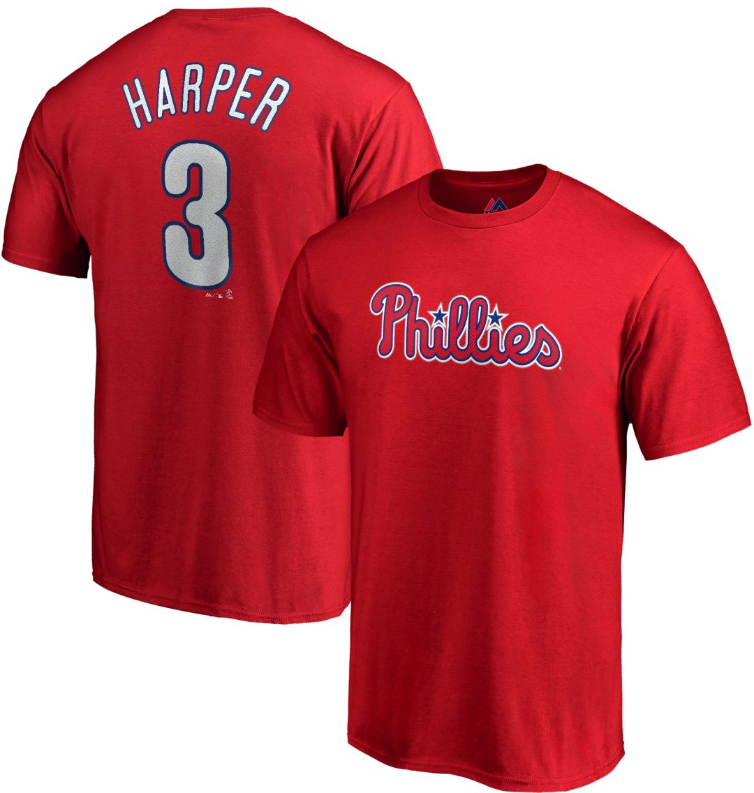 new concept 430d3 a9dde Majestic Youth Philadelphia Phillies Bryce Harper #3 Red T-Shirt