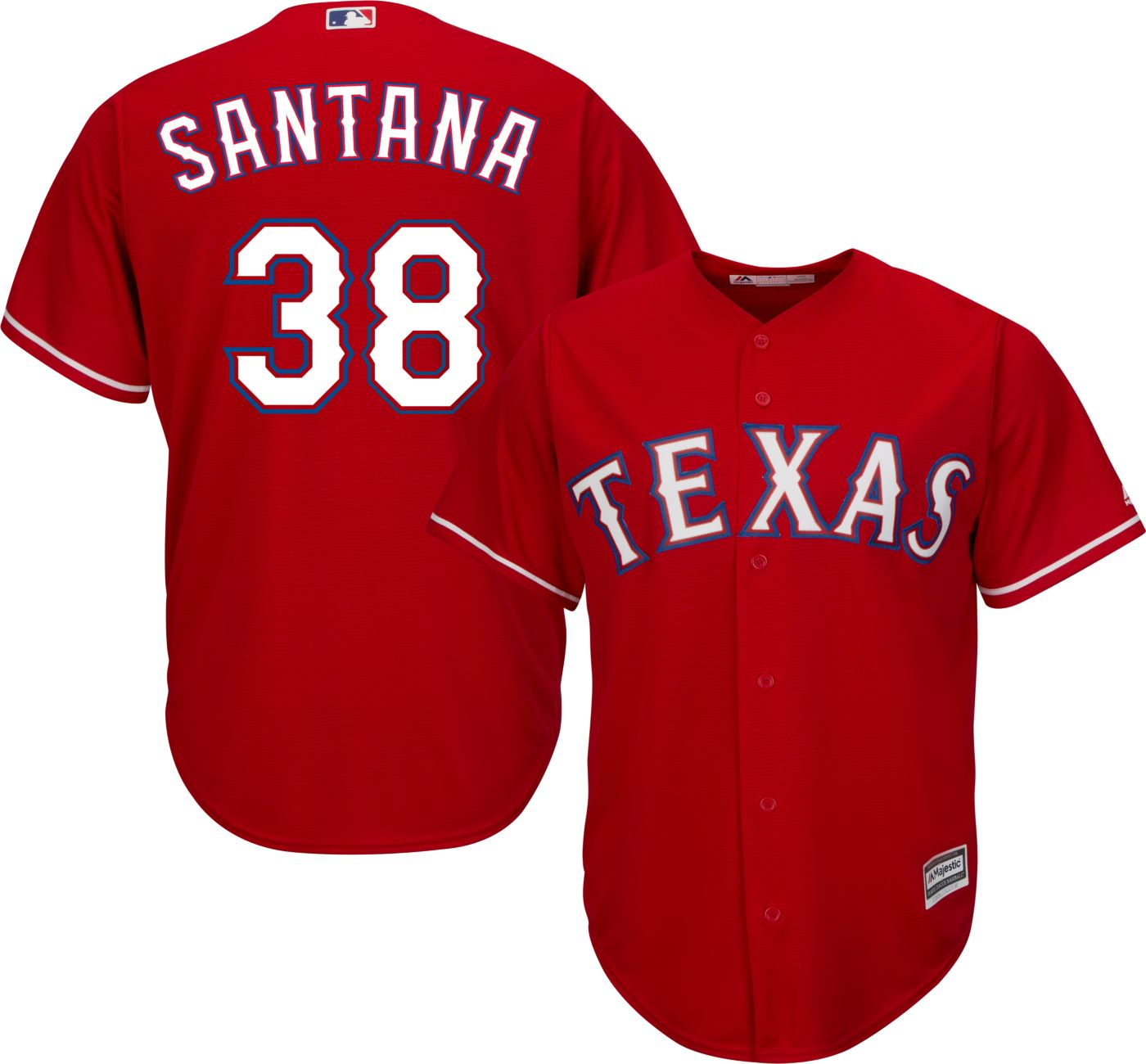 Majestic Youth Replica Texas Rangers Daniel Santana #38 Cool Base Alternate Red Jersey
