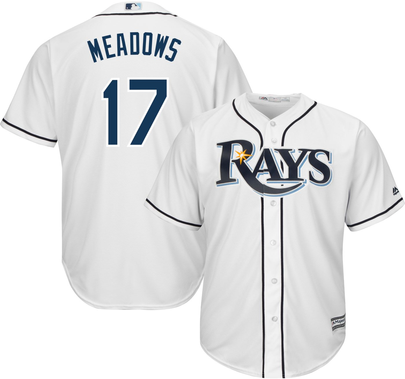 Majestic Youth Replica Tampa Bay Rays Austin Meadows #17 Cool Base Home White Jersey