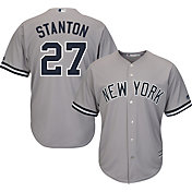 Majestic Youth Replica New York Yankees Giancarlo Stanton #27 Cool Base Road Grey Jersey