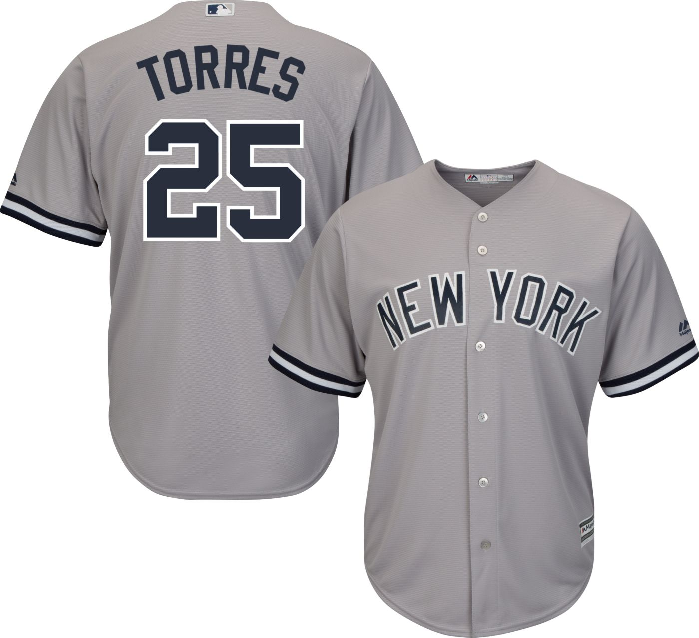 Majestic Youth Replica New York Yankees Gleyber Torres #25 Cool Base Road Grey Jersey