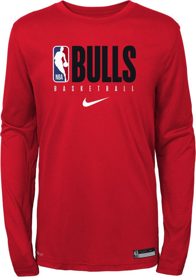 Nike Youth Chicago Bulls Dri FIT Practice Long Sleeve Shirt