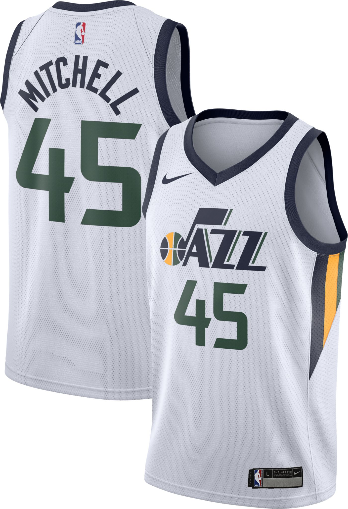 Nike Youth Utah Jazz Donovan Mitchell #45 White Dri-FIT Swingman Jersey