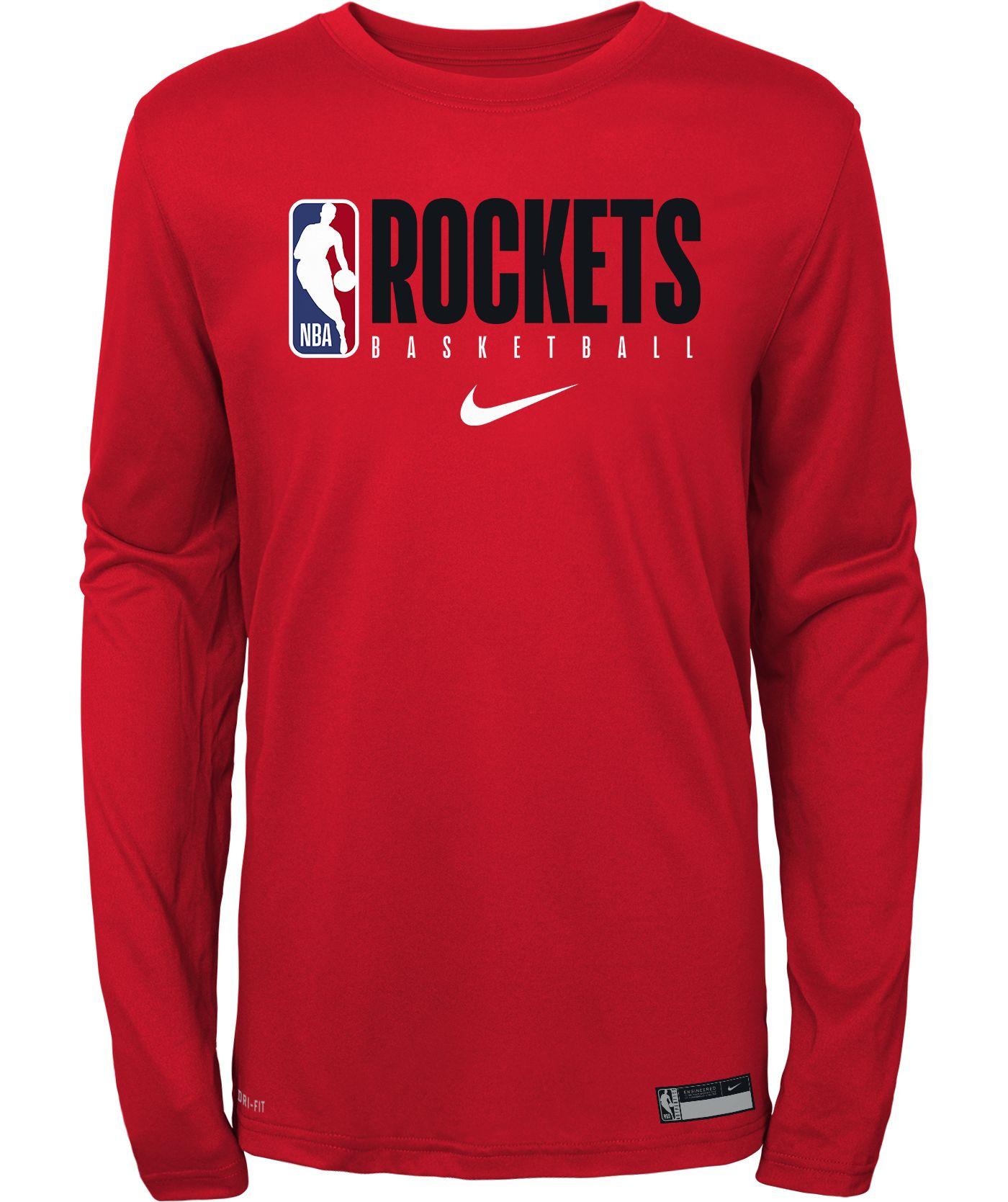 Nike Youth Houston Rockets Dri-FIT Practice Long Sleeve Shirt