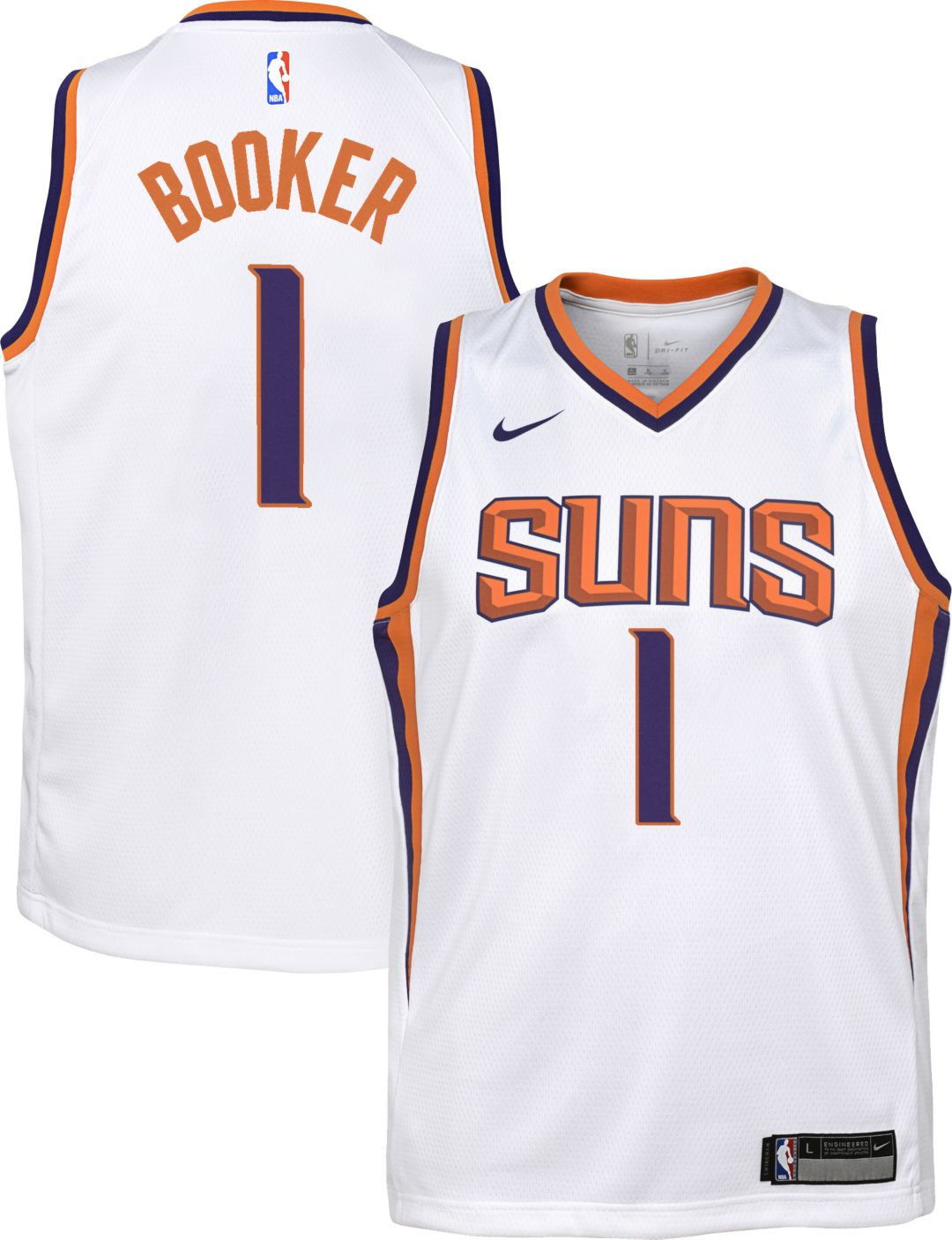 reputable site d5811 df993 Nike Youth Phoenix Suns Devin Booker #1 White Dri-FIT Swingman Jersey