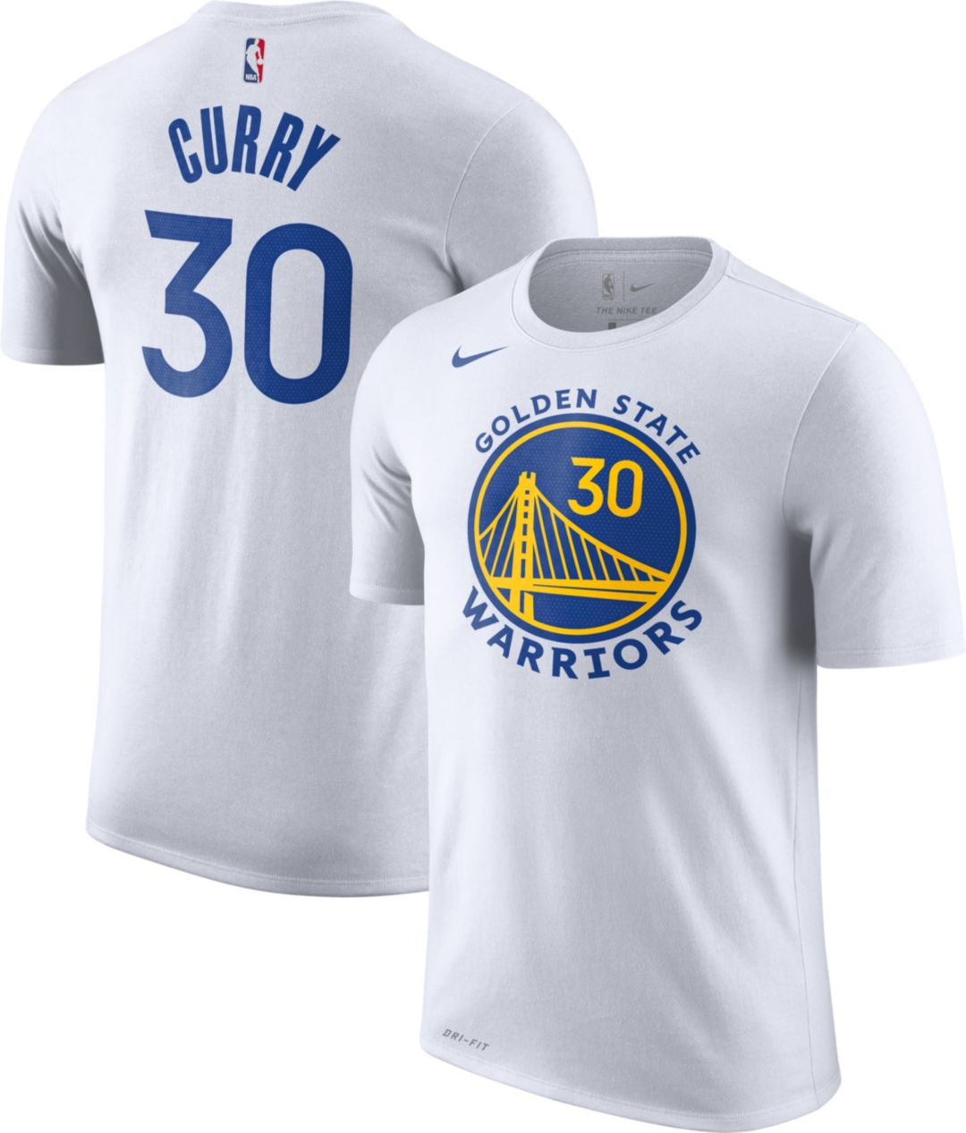 outlet store eb5e8 8101f Nike Youth Golden State Warriors Steph Curry #30 Dri-FIT White T-Shirt