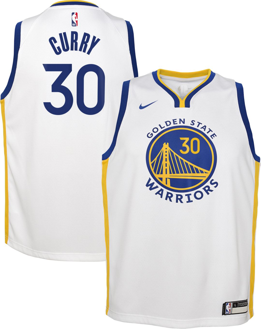 reputable site c3d06 c6313 Nike Youth Golden State Warriors Steph Curry #30 White Dri-FIT Swingman  Jersey