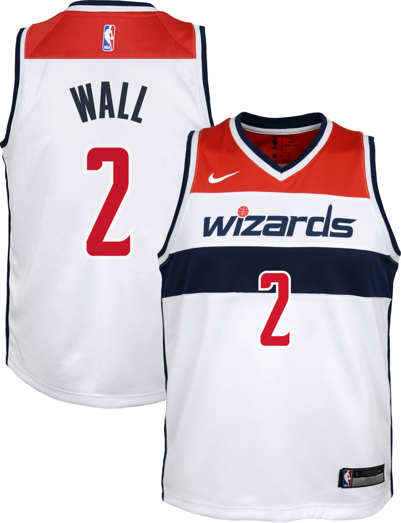 Nike Youth Washington Wizards John Wall #2 White Dri-FIT Swingman Jersey