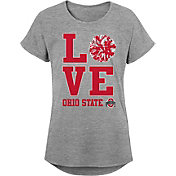 Gen2 Youth Girls' Ohio State Buckeyes Grey Pom Pom Love T-Shirt