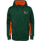 Gen2 Youth Miami Hurricanes Green Full-Zip Performance Hoodie