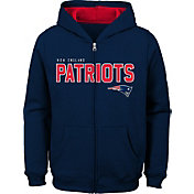 NFL Team Apparel Youth New England Patriots Stated Navy Full-Zip Hoodie